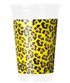 30 vasos PVC animal print 300 ml amarillos