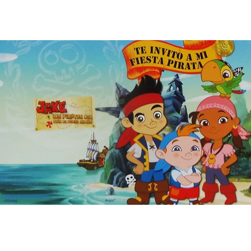 Invitaciones Jake Y Los Piratas X 10